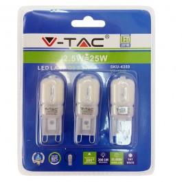 LED Крушка - 2.5W 230V G9 Топло бяла светлина, Блистер 3 броя