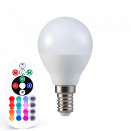 LED Крушка - 3.5W Е14 P45 А80 Кендъл Димираща С Дистанционно RGB 6400K