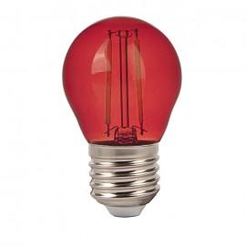LED Крушка - 4W Filament E27 G45 Червен Цвят